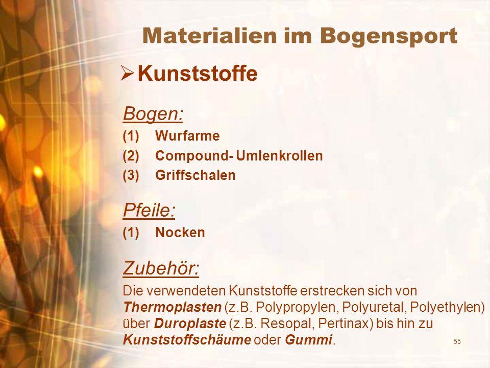 55 Materialien im Bogensport Kunststoffe Bogen: (1)Wurfarme (2)Compound- Umlenkrollen (3)Griffschalen Pfeile: (1)Nocken Zubehör: Die verwendeten Kunst