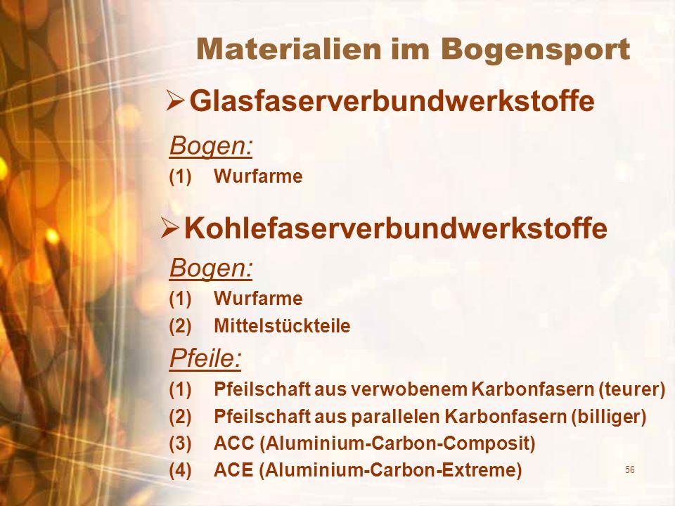 56 Materialien im Bogensport Glasfaserverbundwerkstoffe Bogen: (1)Wurfarme Kohlefaserverbundwerkstoffe Bogen: (1)Wurfarme (2)Mittelstückteile Pfeile: