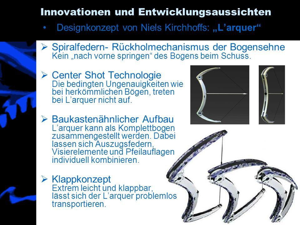60 Innovationen und Entwicklungsaussichten Spiralfedern- Rückholmechanismus der Bogensehne Kein nach vorne springen des Bogens beim Schuss. Center Sho