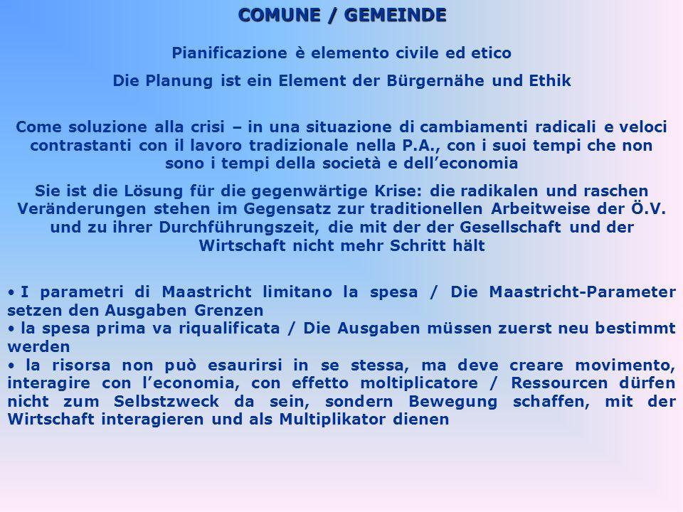 COMUNE / GEMEINDE Pianificazione è elemento civile ed etico Die Planung ist ein Element der Bürgernähe und Ethik Come soluzione alla crisi – in una si