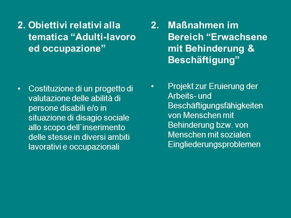 OBIETTIVI DI MIGLIORAMENTO 1.Obiettivi relativi alla tematica minori disabili e famiglie Sperimentare linserimento di max. 2 minori, a partire dalletà