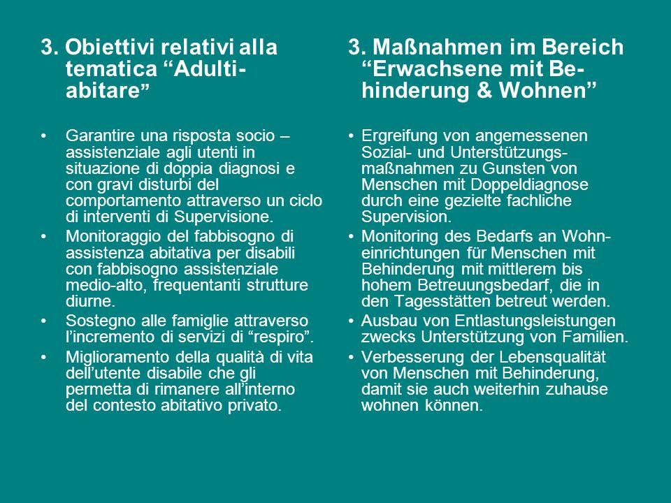 2. Obiettivi relativi alla tematica Adulti-lavoro ed occupazione Costituzione di un progetto di valutazione delle abilità di persone disabili e/o in s