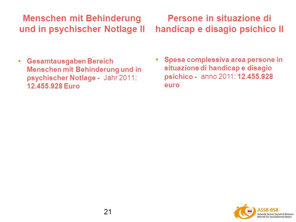 21 Menschen mit Behinderung und in psychischer Notlage II Gesamtausgaben Bereich Menschen mit Behinderung und in psychischer Notlage - Jahr 2011: 12.455.928 Euro Persone in situazione di handicap e disagio psichico II Spesa complessiva area persone in situazione di handicap e disagio psichico - anno 2011: 12.455.928 euro