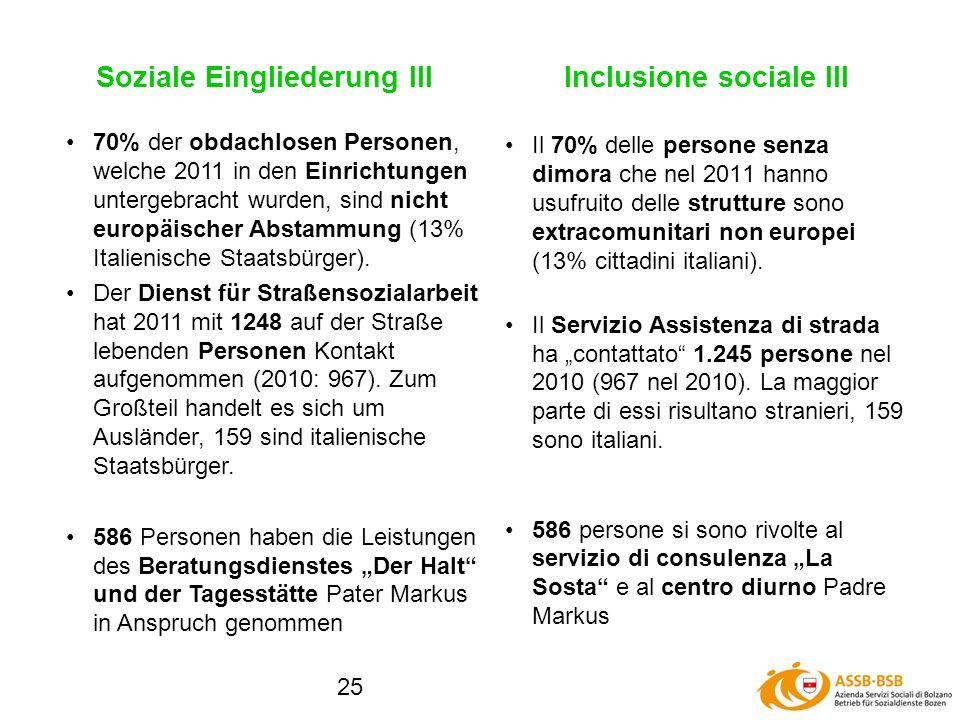25 Soziale Eingliederung III Il 70% delle persone senza dimora che nel 2011 hanno usufruito delle strutture sono extracomunitari non europei (13% cittadini italiani).