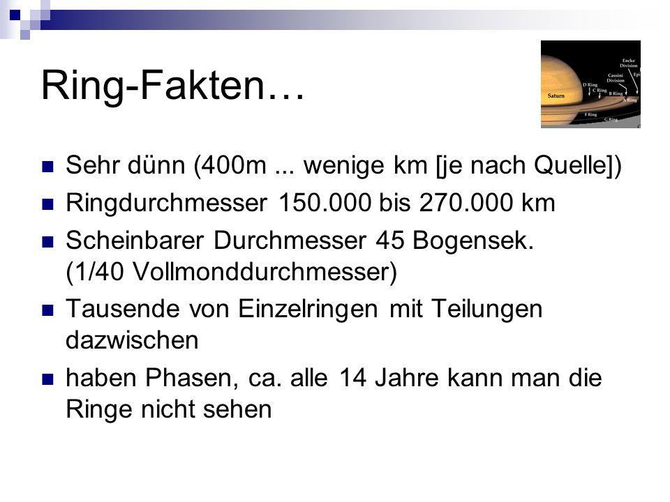 Ring-Fakten… Sehr dünn (400m... wenige km [je nach Quelle]) Ringdurchmesser 150.000 bis 270.000 km Scheinbarer Durchmesser 45 Bogensek. (1/40 Vollmond