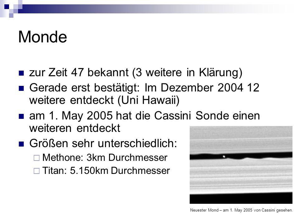 Monde zur Zeit 47 bekannt (3 weitere in Klärung) Gerade erst bestätigt: Im Dezember 2004 12 weitere entdeckt (Uni Hawaii) am 1. May 2005 hat die Cassi