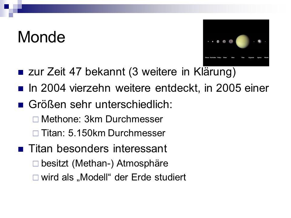 Monde zur Zeit 47 bekannt (3 weitere in Klärung) In 2004 vierzehn weitere entdeckt, in 2005 einer Größen sehr unterschiedlich: Methone: 3km Durchmesse