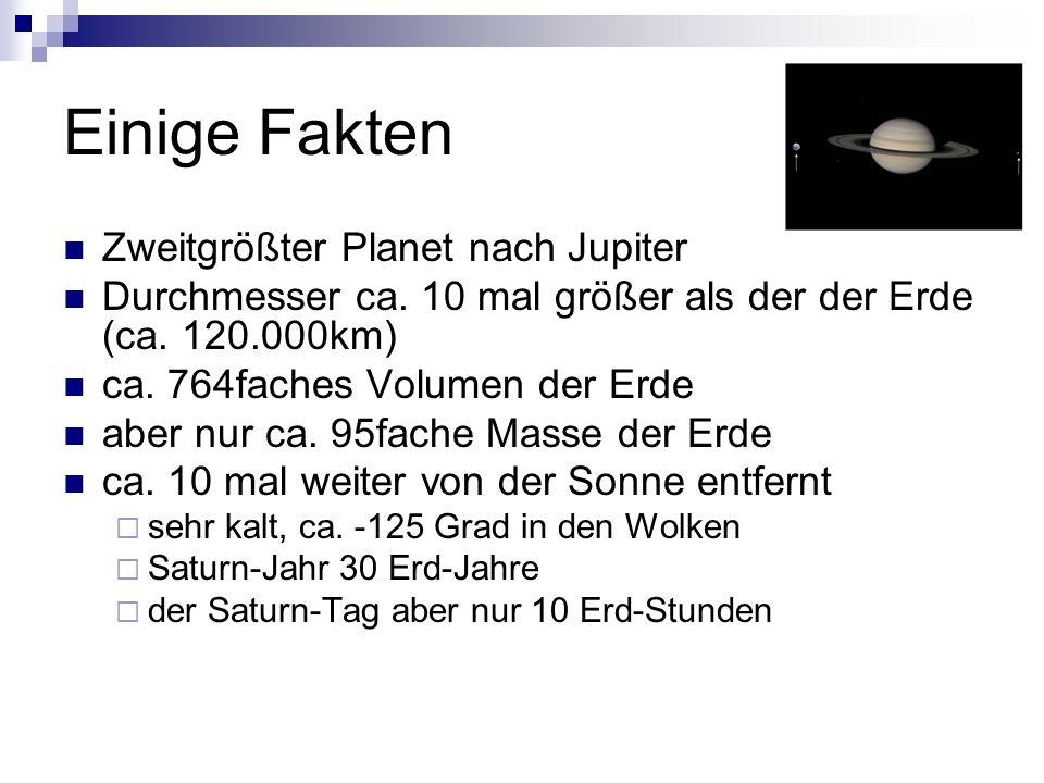 Einige Fakten Zweitgrößter Planet nach Jupiter Durchmesser ca. 10 mal größer als der der Erde (ca. 120.000km) ca. 764faches Volumen der Erde aber nur