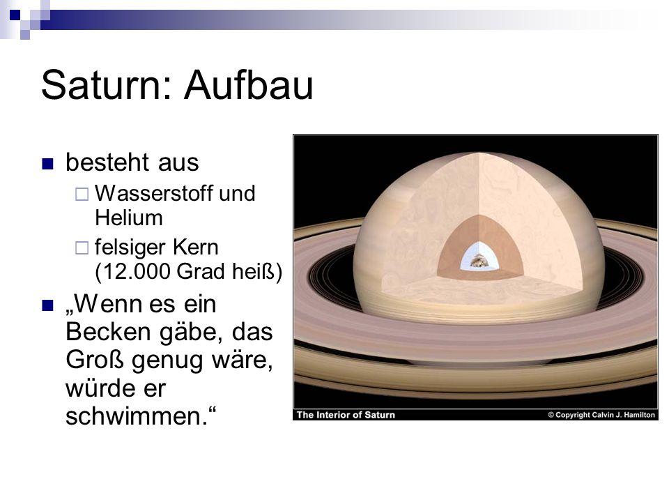 Saturn: Aufbau besteht aus Wasserstoff und Helium felsiger Kern (12.000 Grad heiß) Wenn es ein Becken gäbe, das Groß genug wäre, würde er schwimmen.