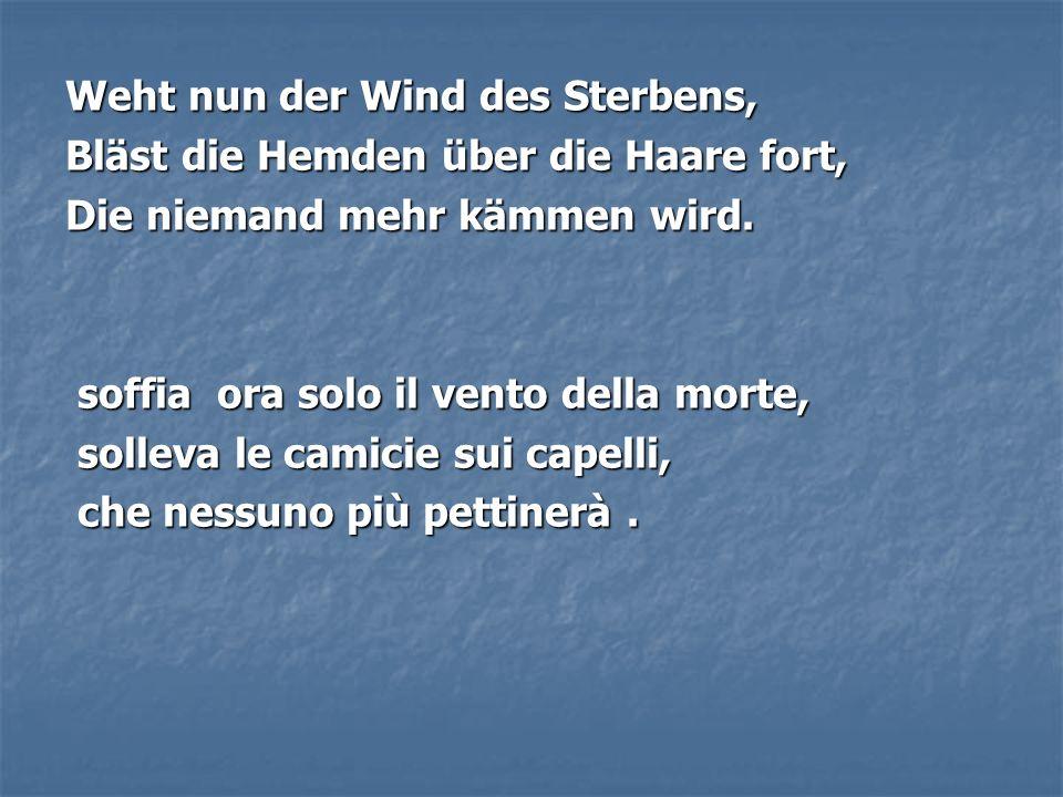 Weht nun der Wind des Sterbens, Bläst die Hemden über die Haare fort, Die niemand mehr kämmen wird. soffia ora solo il vento della morte, soffia ora s