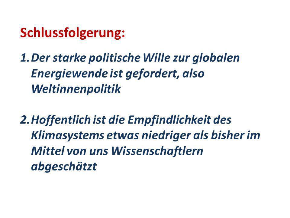 Schlussfolgerung: 1.Der starke politische Wille zur globalen Energiewende ist gefordert, also Weltinnenpolitik 2.Hoffentlich ist die Empfindlichkeit d