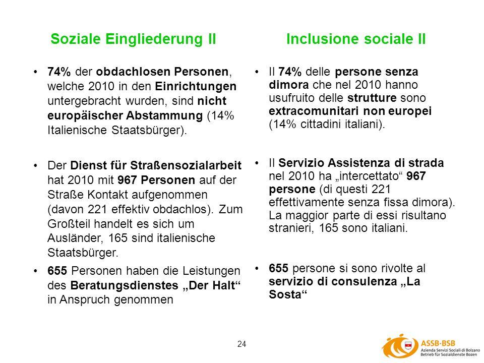 24 Soziale Eingliederung II Il 74% delle persone senza dimora che nel 2010 hanno usufruito delle strutture sono extracomunitari non europei (14% citta
