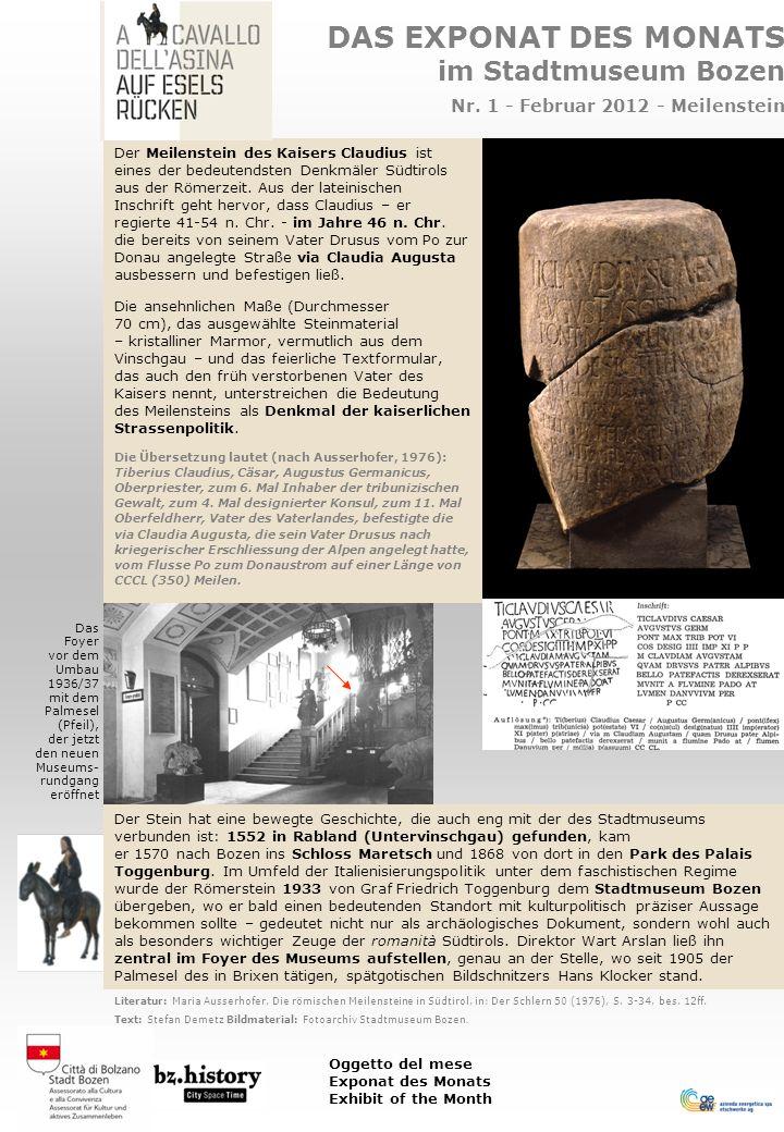 DAS EXPONAT DES MONATS im Stadtmuseum Bozen Nr.