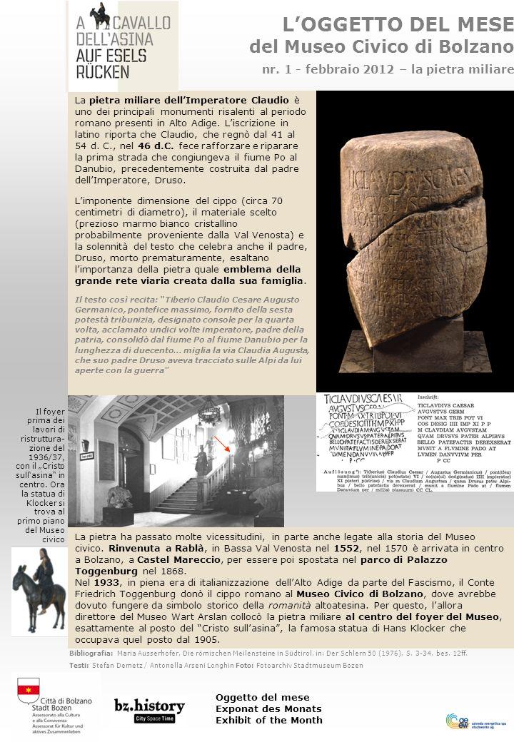 LOGGETTO DEL MESE del Museo Civico di Bolzano nr.