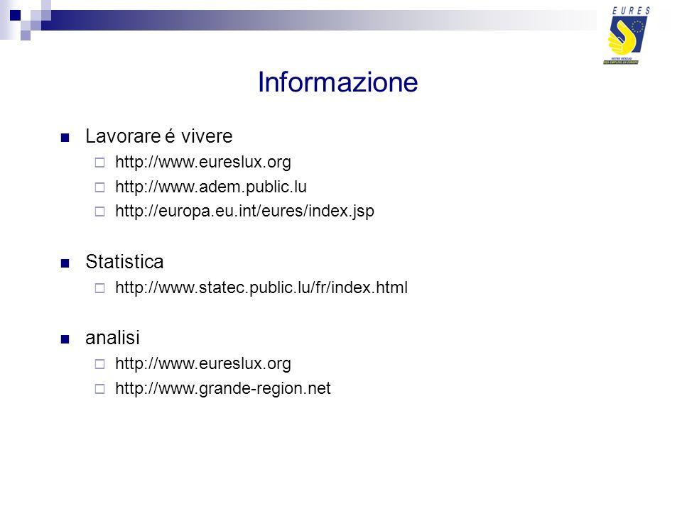 Informazione Lavorare é vivere http://www.eureslux.org http://www.adem.public.lu http://europa.eu.int/eures/index.jsp Statistica http://www.statec.public.lu/fr/index.html analisi http://www.eureslux.org http://www.grande-region.net
