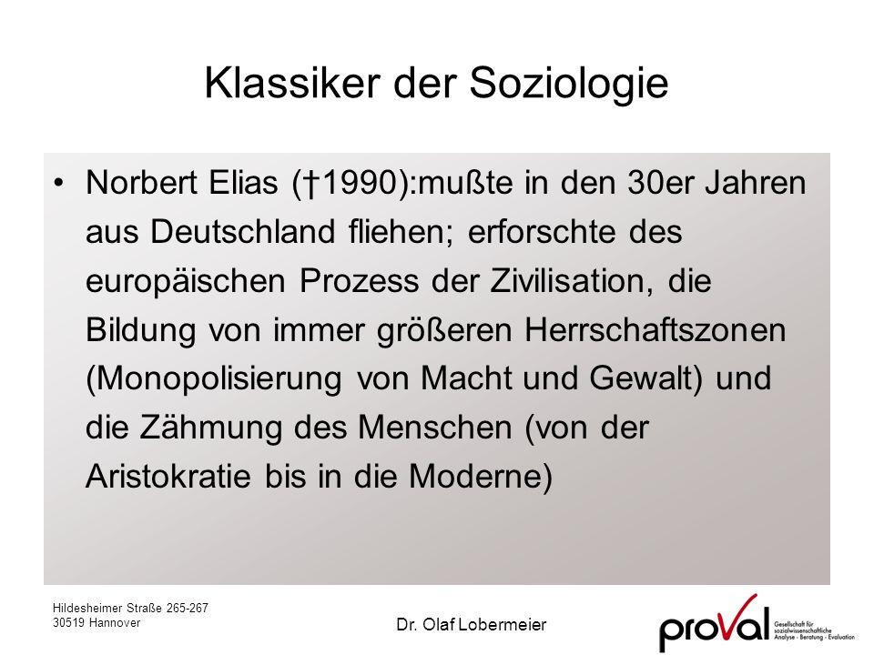 Hildesheimer Straße 265-267 30519 Hannover Dr. Olaf Lobermeier Klassiker der Soziologie Norbert Elias (1990):mußte in den 30er Jahren aus Deutschland