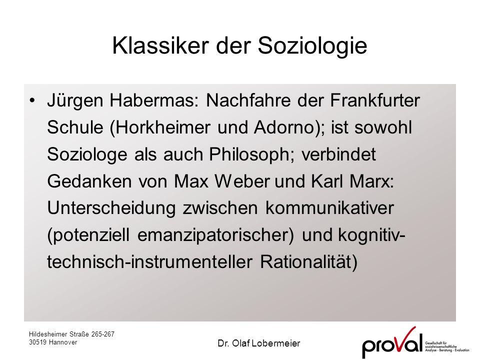 Hildesheimer Straße 265-267 30519 Hannover Dr. Olaf Lobermeier Klassiker der Soziologie Jürgen Habermas: Nachfahre der Frankfurter Schule (Horkheimer