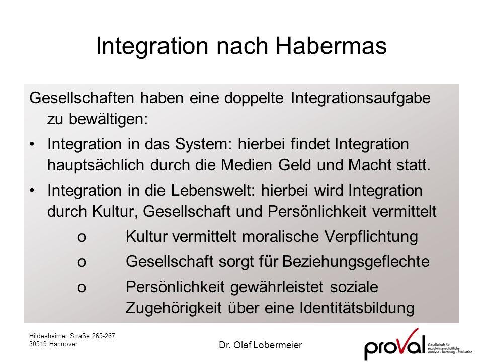 Hildesheimer Straße 265-267 30519 Hannover Dr. Olaf Lobermeier Integration nach Habermas Gesellschaften haben eine doppelte Integrationsaufgabe zu bew