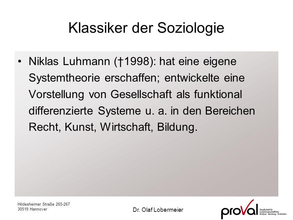 Hildesheimer Straße 265-267 30519 Hannover Dr. Olaf Lobermeier Klassiker der Soziologie Niklas Luhmann (1998): hat eine eigene Systemtheorie erschaffe