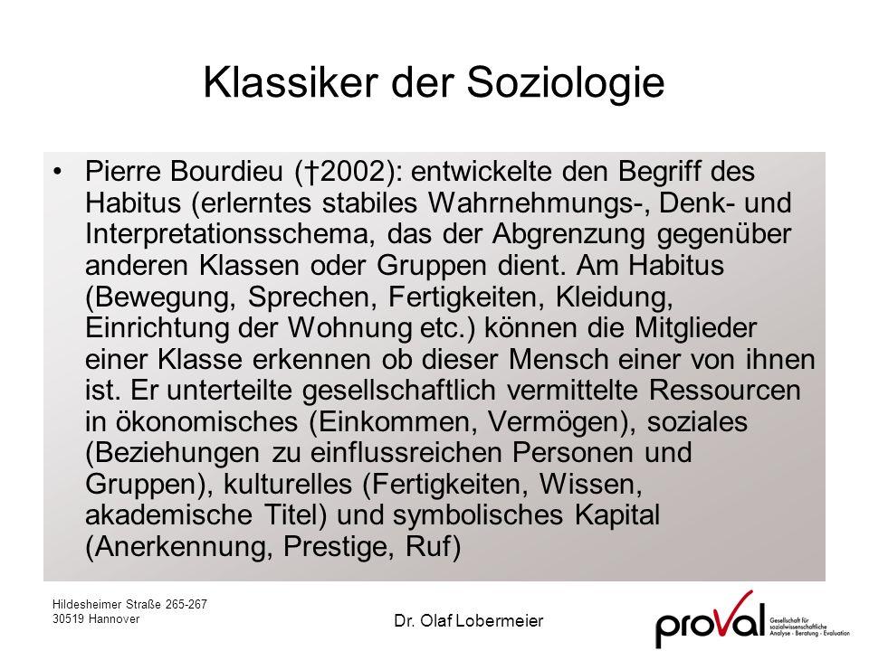 Hildesheimer Straße 265-267 30519 Hannover Dr. Olaf Lobermeier Klassiker der Soziologie Pierre Bourdieu (2002): entwickelte den Begriff des Habitus (e
