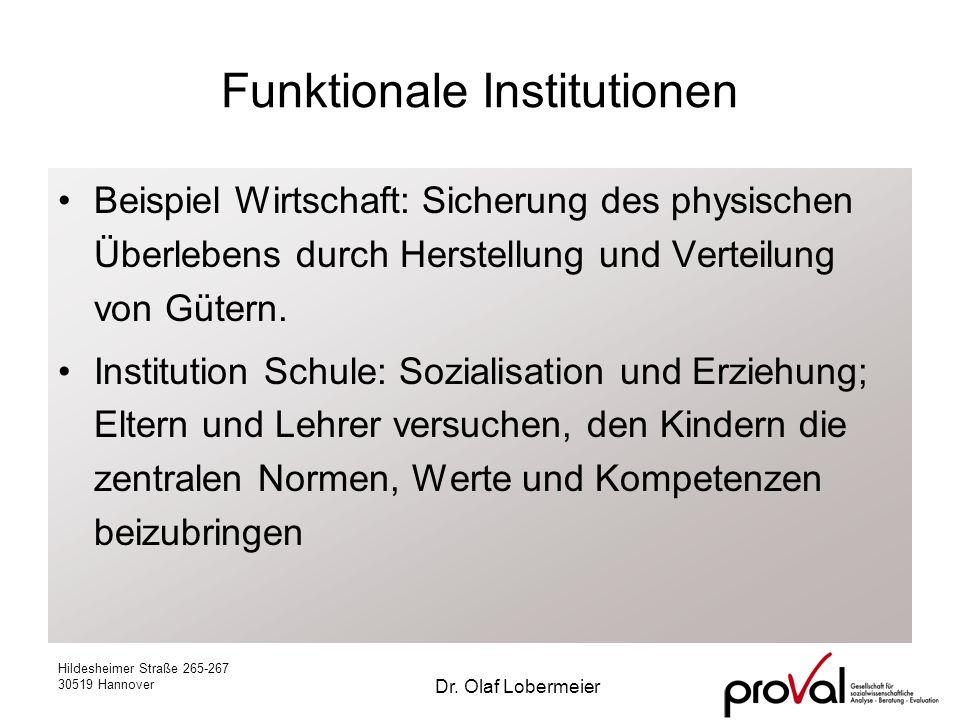 Hildesheimer Straße 265-267 30519 Hannover Dr. Olaf Lobermeier Funktionale Institutionen Beispiel Wirtschaft: Sicherung des physischen Überlebens durc