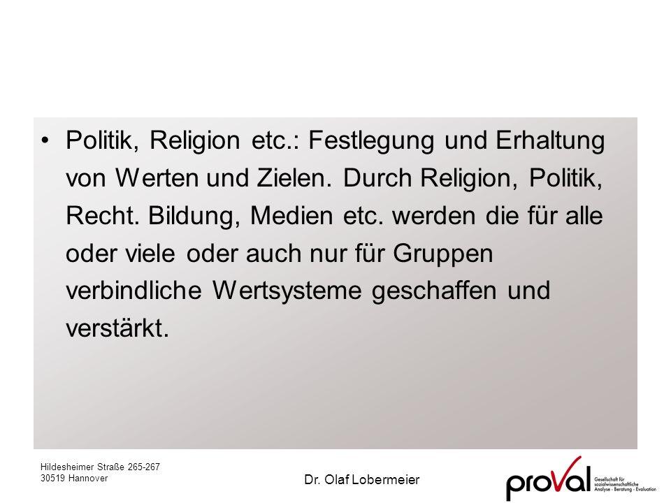 Hildesheimer Straße 265-267 30519 Hannover Dr. Olaf Lobermeier Politik, Religion etc.: Festlegung und Erhaltung von Werten und Zielen. Durch Religion,
