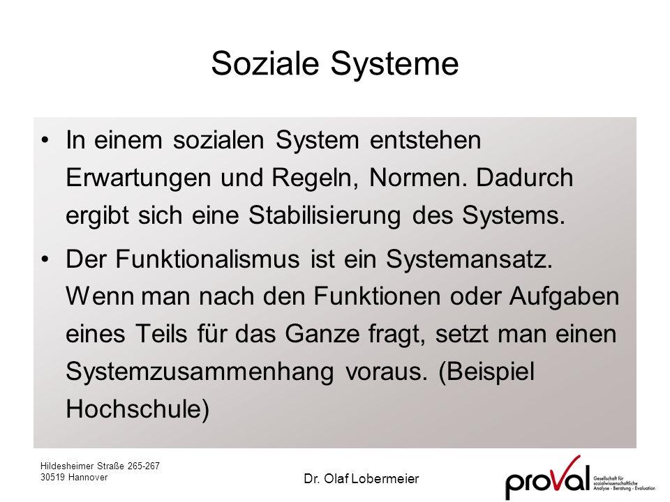 Hildesheimer Straße 265-267 30519 Hannover Dr. Olaf Lobermeier Soziale Systeme In einem sozialen System entstehen Erwartungen und Regeln, Normen. Dadu