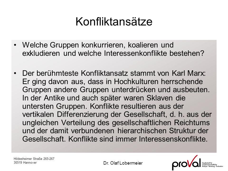 Hildesheimer Straße 265-267 30519 Hannover Dr. Olaf Lobermeier Konfliktansätze Welche Gruppen konkurrieren, koalieren und exkludieren und welche Inter