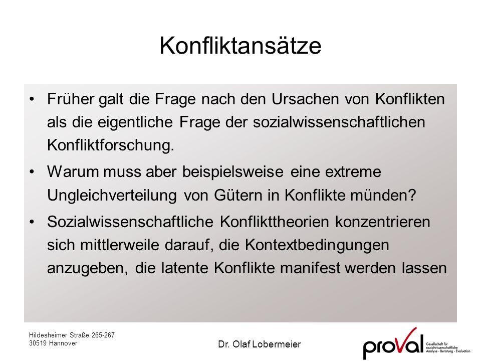 Hildesheimer Straße 265-267 30519 Hannover Dr. Olaf Lobermeier Konfliktansätze Früher galt die Frage nach den Ursachen von Konflikten als die eigentli