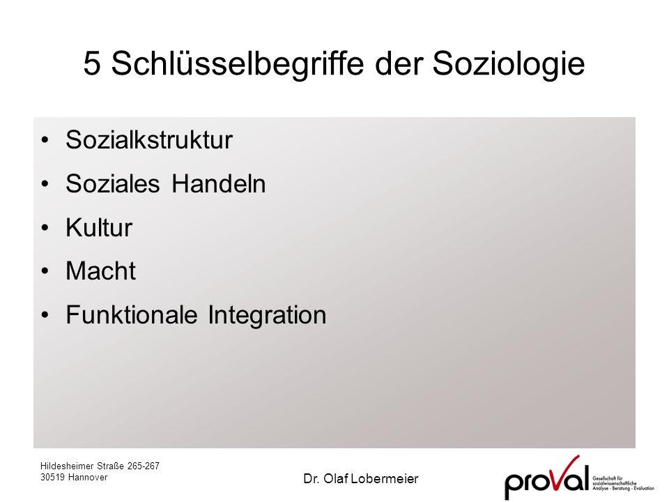 Hildesheimer Straße 265-267 30519 Hannover Dr. Olaf Lobermeier 5 Schlüsselbegriffe der Soziologie Sozialkstruktur Soziales Handeln Kultur Macht Funkti