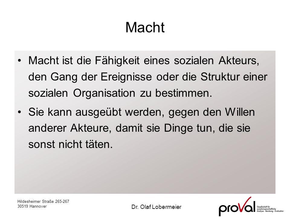 Hildesheimer Straße 265-267 30519 Hannover Dr. Olaf Lobermeier Macht Macht ist die Fähigkeit eines sozialen Akteurs, den Gang der Ereignisse oder die