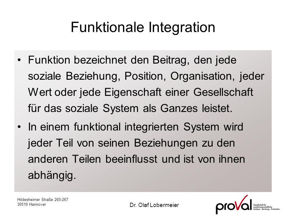 Hildesheimer Straße 265-267 30519 Hannover Dr. Olaf Lobermeier Funktionale Integration Funktion bezeichnet den Beitrag, den jede soziale Beziehung, Po