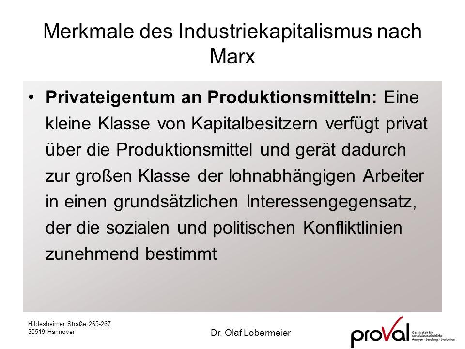 Hildesheimer Straße 265-267 30519 Hannover Dr. Olaf Lobermeier Merkmale des Industriekapitalismus nach Marx Privateigentum an Produktionsmitteln: Eine