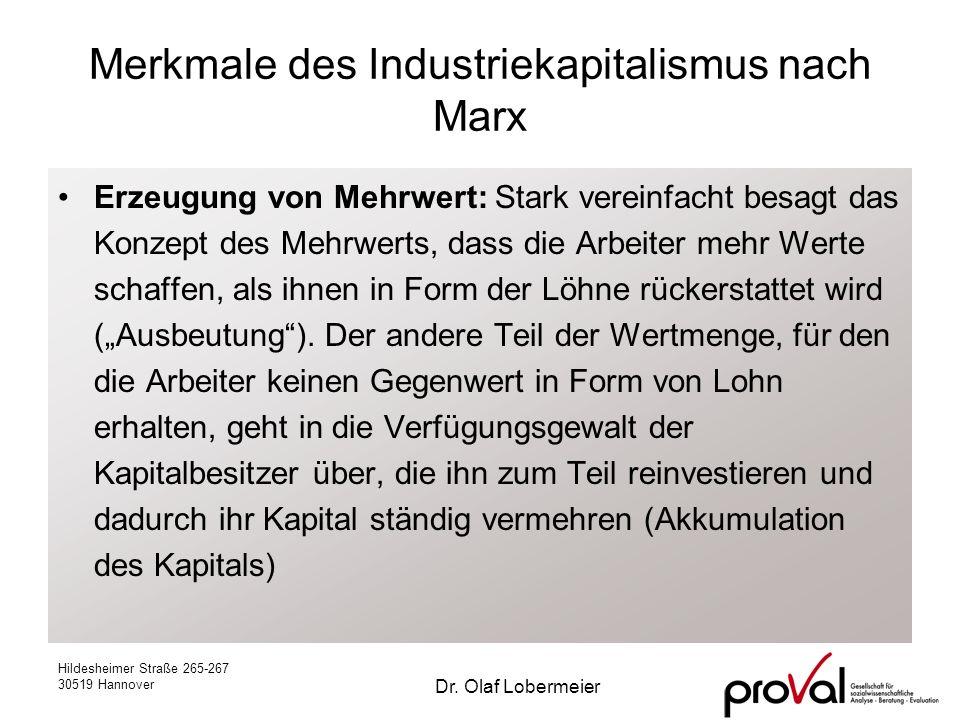 Hildesheimer Straße 265-267 30519 Hannover Dr. Olaf Lobermeier Merkmale des Industriekapitalismus nach Marx Erzeugung von Mehrwert: Stark vereinfacht