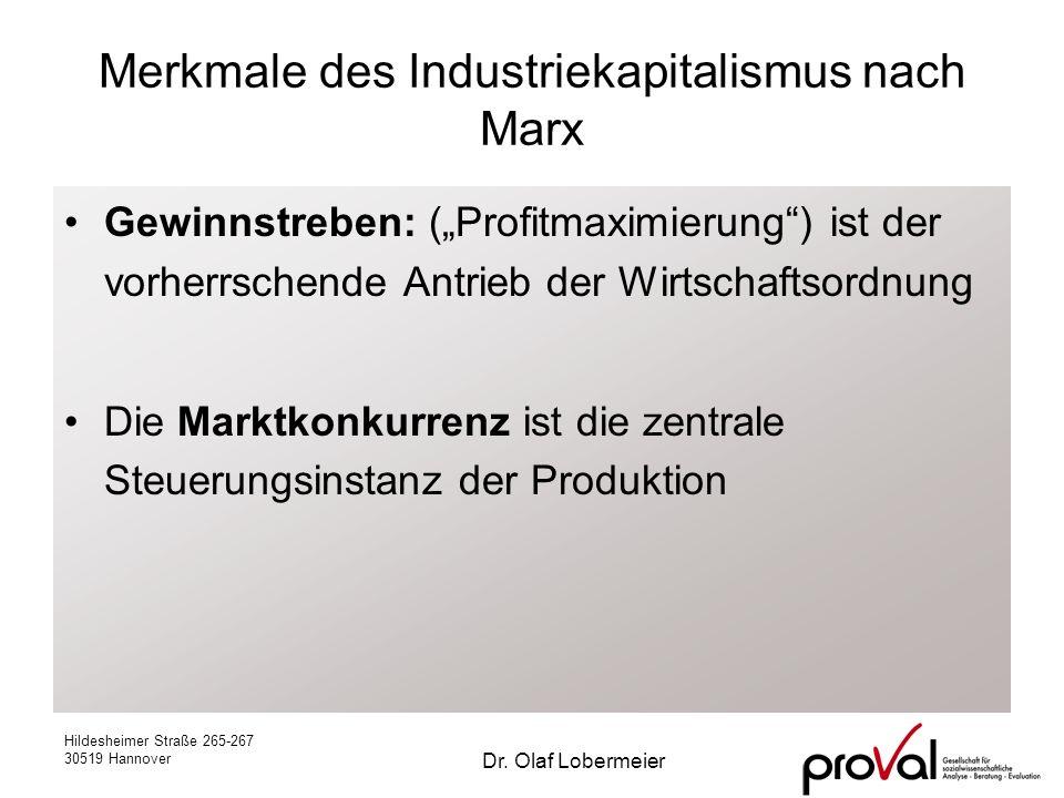Hildesheimer Straße 265-267 30519 Hannover Dr. Olaf Lobermeier Merkmale des Industriekapitalismus nach Marx Gewinnstreben: (Profitmaximierung) ist der