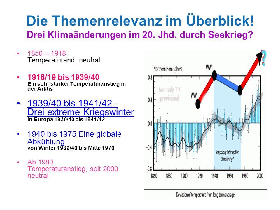 3 Die Themenrelevanz im Überblick! Drei Klimaänderungen im 20. Jhd. durch Seekrieg? 1850 – 1918 Temperaturänd. neutral 1918/19 bis 1939/40 Ein sehr st