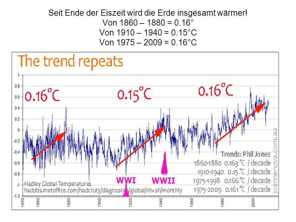 4 Seit Ende der Eiszeit wird die Erde insgesamt wärmer! Von 1860 – 1880 = 0.16° Von 1910 – 1940 = 0.15°C Von 1975 – 2009 = 0.16°C