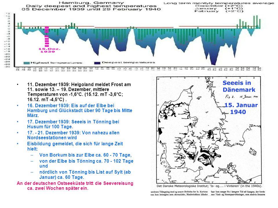 8 11. Dezember 1939: Helgoland meldet Frost am 11. sowie 13. – 19. Dezember, mittlere Temperaturen von -1,6°C. (15.12. mT -3,6°C; 16.12. mT -4,5°C). 1