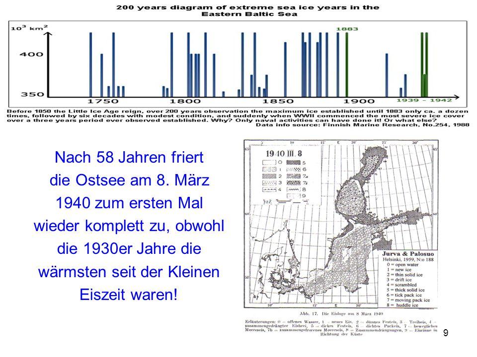 9 Nach 58 Jahren friert die Ostsee am 8. März 1940 zum ersten Mal wieder komplett zu, obwohl die 1930er Jahre die wärmsten seit der Kleinen Eiszeit wa