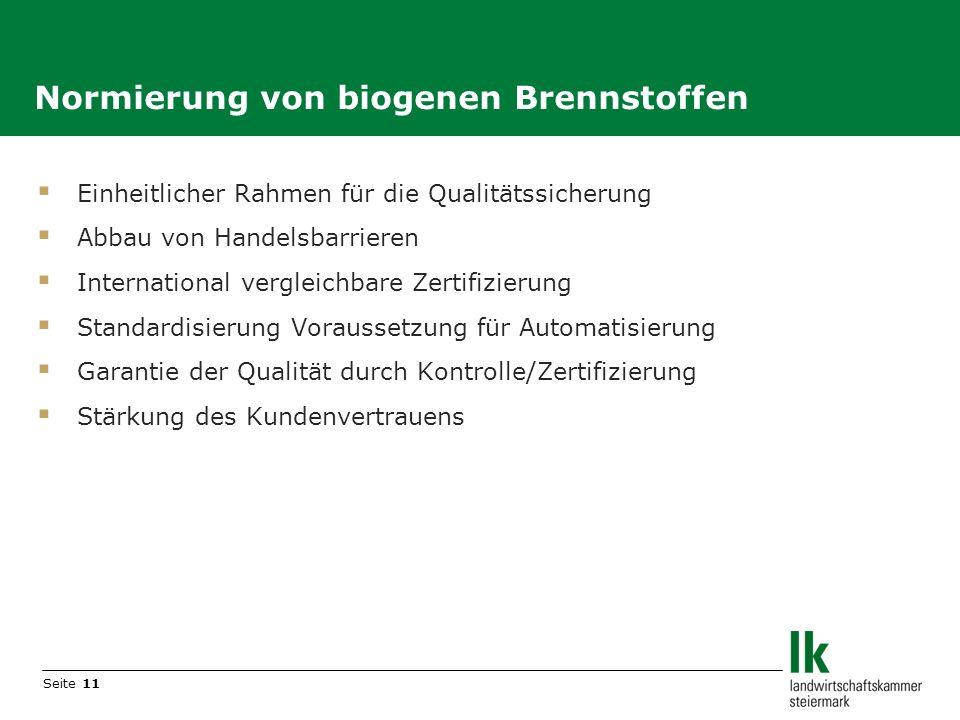 Seite 11 Einheitlicher Rahmen für die Qualitätssicherung Abbau von Handelsbarrieren International vergleichbare Zertifizierung Standardisierung Voraus