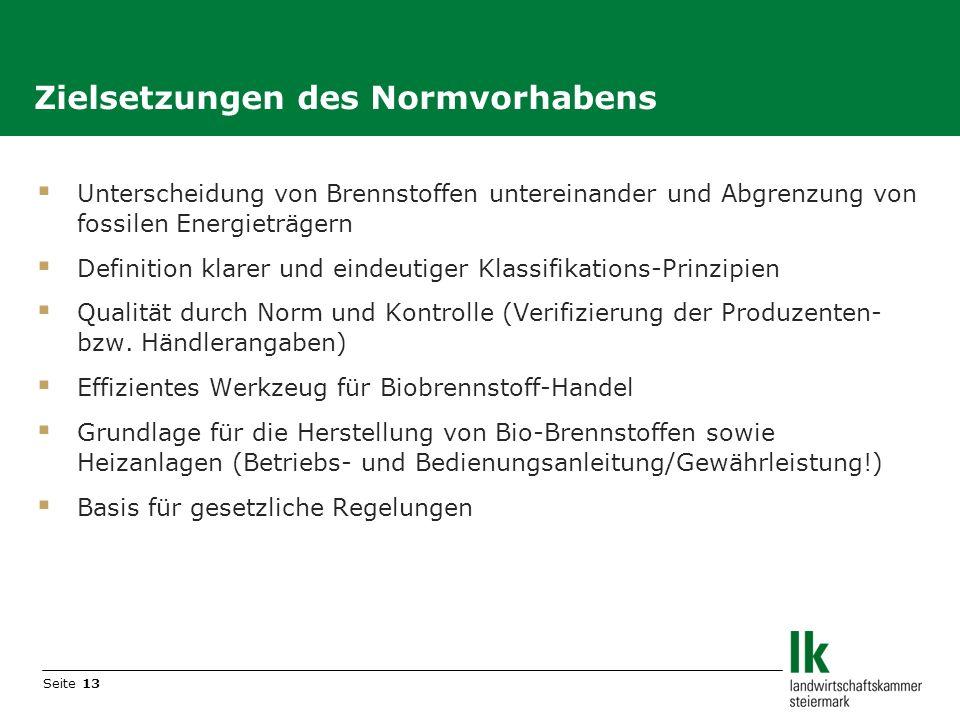 Seite 13 Unterscheidung von Brennstoffen untereinander und Abgrenzung von fossilen Energieträgern Definition klarer und eindeutiger Klassifikations-Pr