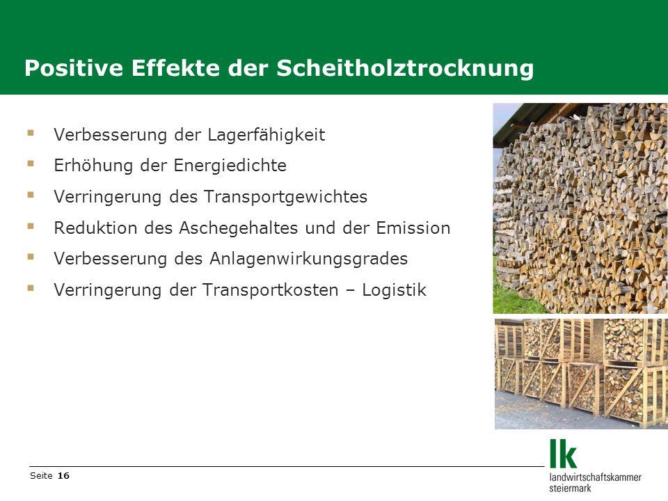 Seite 16 Verbesserung der Lagerfähigkeit Erhöhung der Energiedichte Verringerung des Transportgewichtes Reduktion des Aschegehaltes und der Emission V