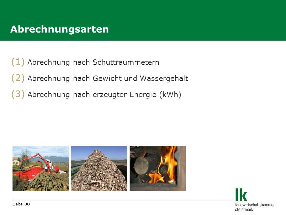 Seite 38 (1) Abrechnung nach Schüttraummetern (2) Abrechnung nach Gewicht und Wassergehalt (3) Abrechnung nach erzeugter Energie (kWh) Abrechnungsarte