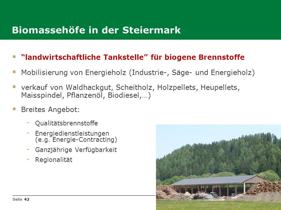 Seite 42 Biomassehöfe in der Steiermark landwirtschaftliche Tankstelle für biogene Brennstoffe Mobilisierung von Energieholz (Industrie-, Säge- und En