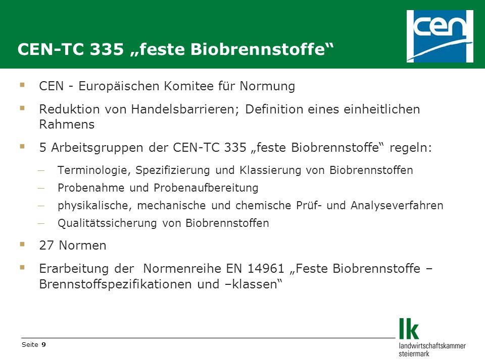 Seite 9 CEN - Europäischen Komitee für Normung Reduktion von Handelsbarrieren; Definition eines einheitlichen Rahmens 5 Arbeitsgruppen der CEN-TC 335