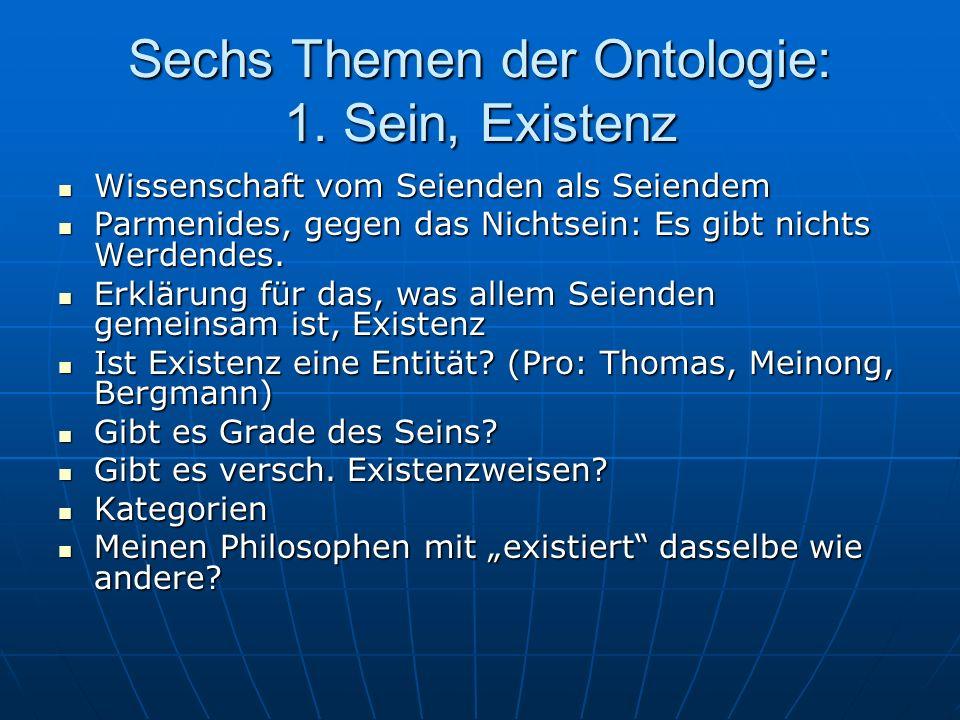 Sechs Themen der Ontologie: 1. Sein, Existenz Wissenschaft vom Seienden als Seiendem Wissenschaft vom Seienden als Seiendem Parmenides, gegen das Nich