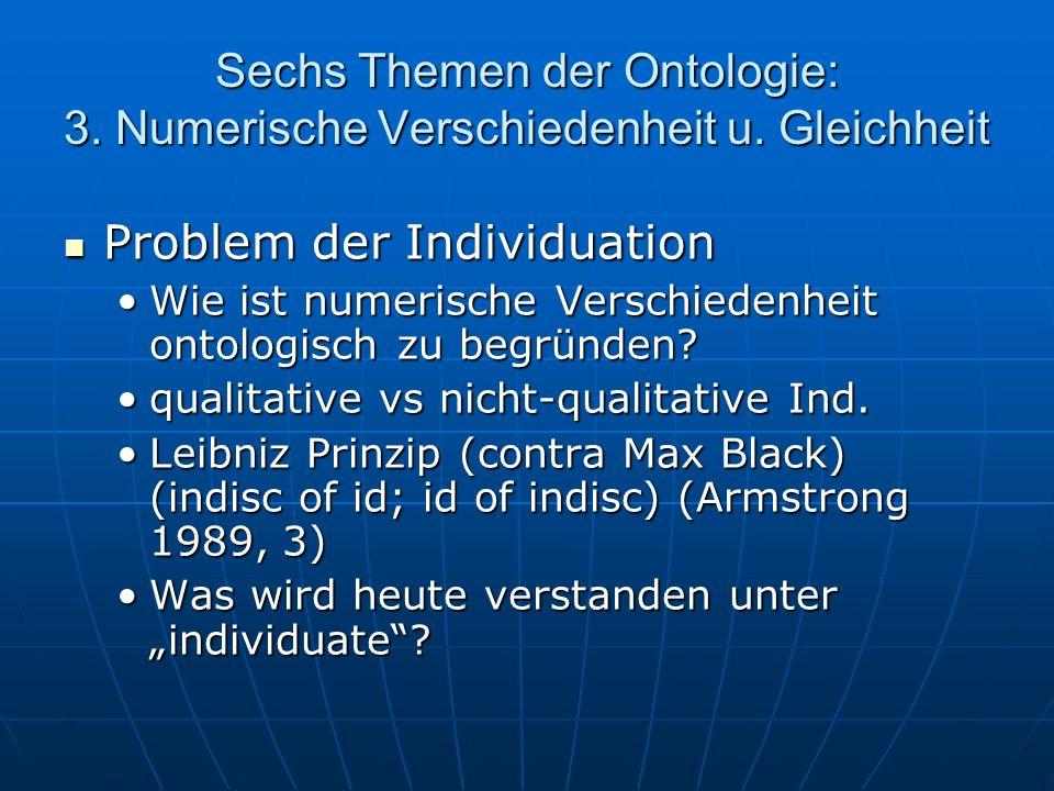 Sechs Themen der Ontologie: 3. Numerische Verschiedenheit u. Gleichheit Problem der Individuation Problem der Individuation Wie ist numerische Verschi