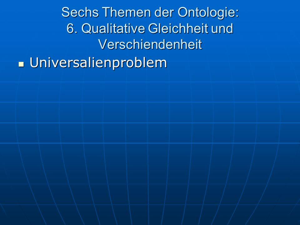 Sechs Themen der Ontologie: 6. Qualitative Gleichheit und Verschiendenheit Universalienproblem Universalienproblem
