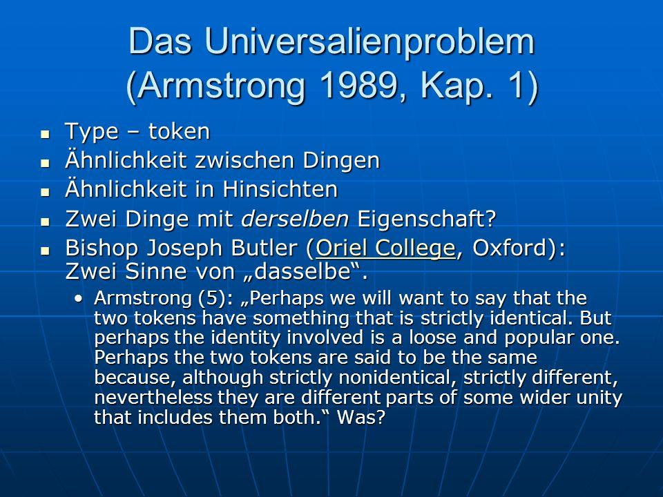 Das Universalienproblem (Armstrong 1989, Kap. 1) Type – token Type – token Ähnlichkeit zwischen Dingen Ähnlichkeit zwischen Dingen Ähnlichkeit in Hins