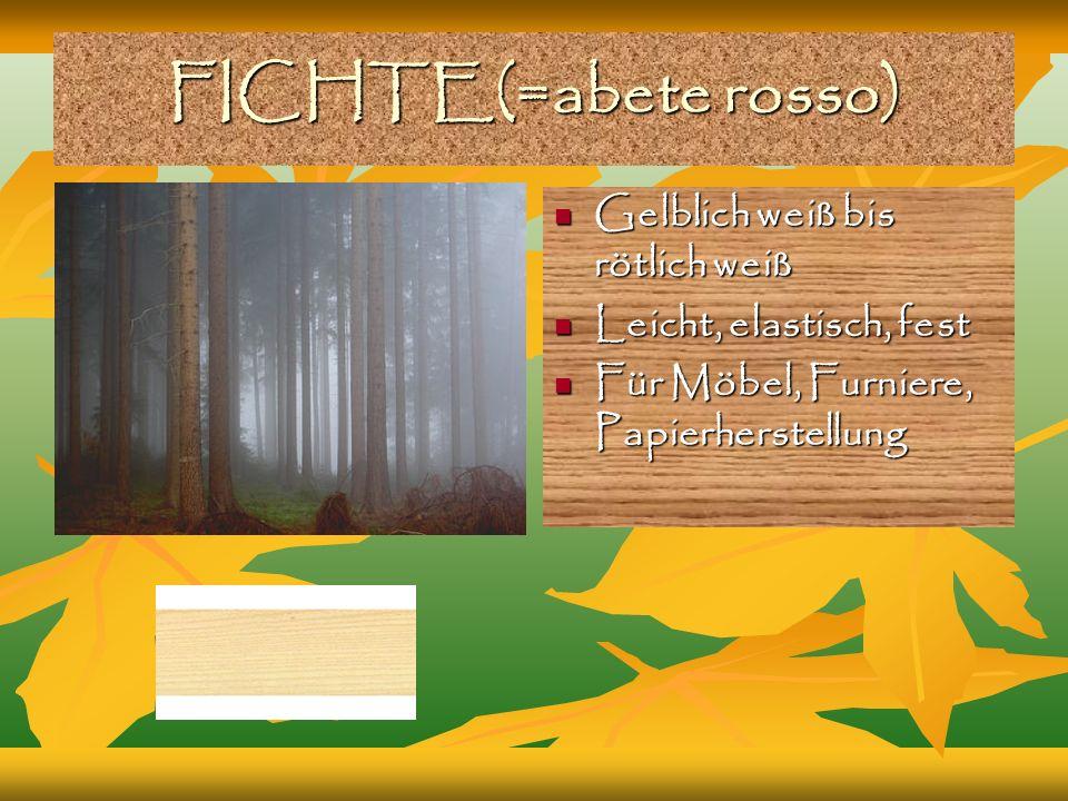 FICHTE(=abete rosso) Gelblich weiß bis rötlich weiß Gelblich weiß bis rötlich weiß Leicht, elastisch, fest Leicht, elastisch, fest Für Möbel, Furniere, Papierherstellung Für Möbel, Furniere, Papierherstellung